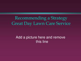 Recommending a  Strategy Great Day Lawn Care Service