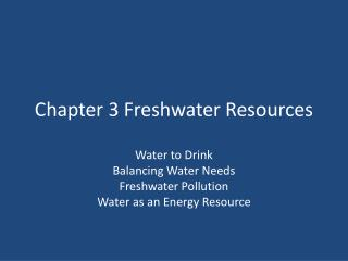 Chapter 3 Freshwater Resources