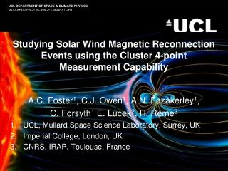 Studying Solar Wind Magnetic Reconnection Events using the Cluster 4-point Measurement Capability