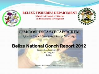 BELIZE FISHERIES DEPARTMENT Ministry  of  Forestry, Fisheries  and Sustainable Development