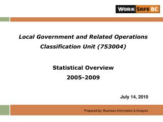 Local Government and Related Operations  Classification Unit (753004) Statistical Overview