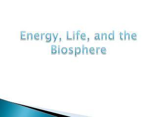 Energy, Life, and the Biosphere