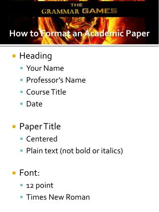 Heading Your Name Professor's Name Course Title Date Paper Title Centered