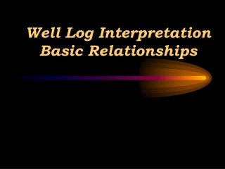 Well Log Interpretation Resistivity Logs