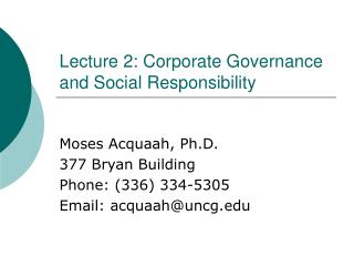 Lecture 2: Corporate Governance and Social Responsibility