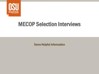 MECOP Selection Interviews