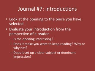Journal #7: Introductions