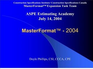 MasterFormat  - 2004