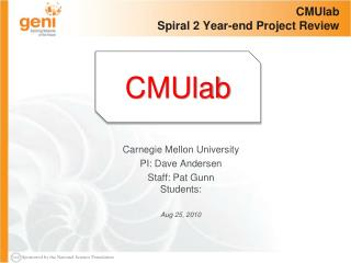 CMUlab Spiral  2 Year-end Project Review