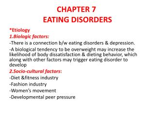 CHAPTER 7 EATING DISORDERS
