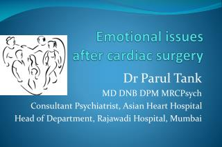 Emotional issues  after cardiac surgery