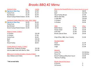 Brooks  BBQ  #2 Menu