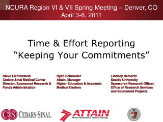 "Time & Effort Reporting  ""Keeping Your Commitments"""