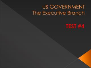 US GOVERNMENT The Executive Branch