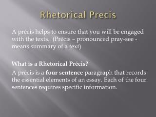 Rhetorical  Precis