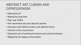 ABSTRACT  ART, CUBISM AND EXPRESSIONISM