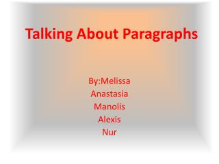 Talking About Paragraphs