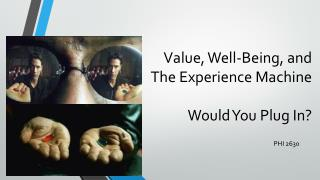 Value, Well-Being, and The Experience Machine Would You Plug In?