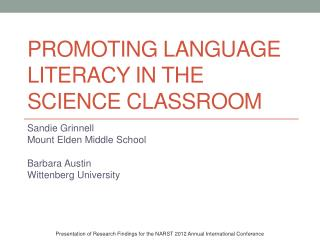 Promoting Language Literacy in the Science Classroom