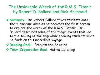 The Unsinkable Wreck of the R.M.S. Titanic by Robert D. Ballard and Rick  Archbold