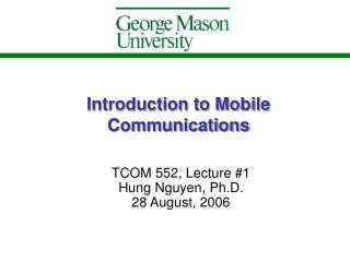 Introduction to Mobile Communications