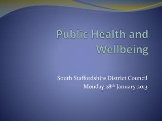 Public Health and Wellbeing