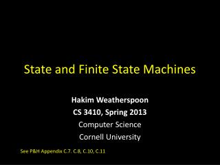 State and Finite State Machines