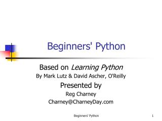 Beginners' Python