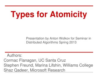 Types for Atomicity