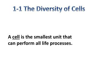 1-1 The Diversity of Cells