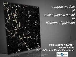 subgrid  models of active galactic nuclei in clusters of galaxies