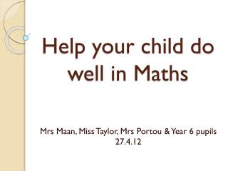 Help your child do well in Maths