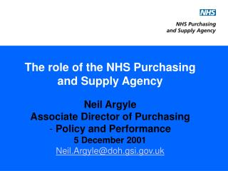 The role of the NHS Purchasing and Supply Agency