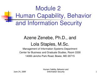 Module 2 Human Capability, Behavior and Information Security
