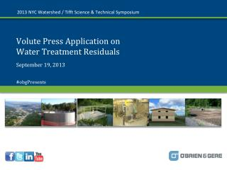 Volute Press Application on  Water Treatment Residuals