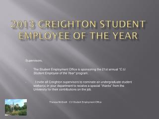 2013 Creighton Student Employee of the Year