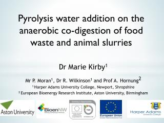 Pyrolysis  water addition on the anaerobic co-digestion of food waste and animal  slurries