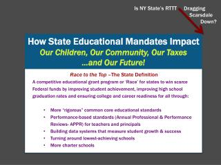 How State Educational Mandates Impact Our Children, Our Community, Our Taxes …and Our Future!