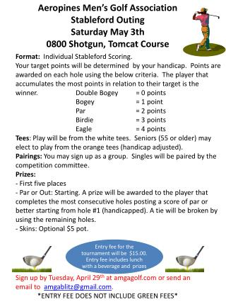 Aeropines Men's Golf Association   Stableford Outing Saturday May  3th 0800 Shotgun, Tomcat Course