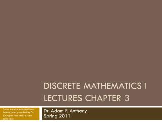 Discrete Mathematics I Lectures  Chapter 3