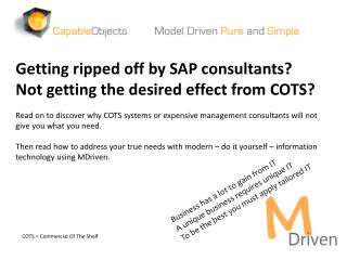 Getting ripped off by  SAP consultants?  Not  getting the desired effect from COTS ?