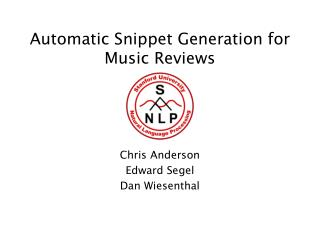 Automatic Snippet Generation for Music Reviews
