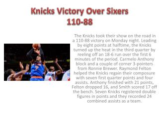Knicks Victory Over Sixers 110-88