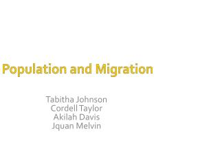 Population and Migration