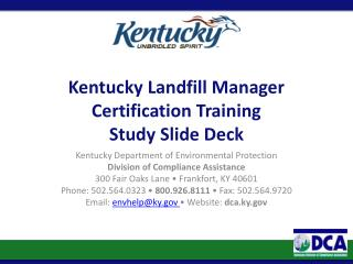 Kentucky Landfill Manager Certification Training Study Slide Deck
