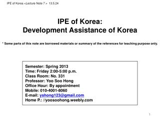 IPE of Korea : Development Assistance  of Korea