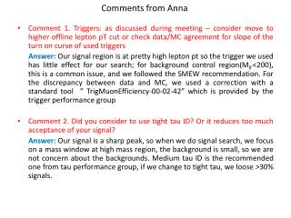 Comments from Anna