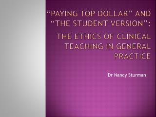 Dr Nancy Sturman