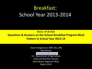 Breakfast :  School Year 2013-2014