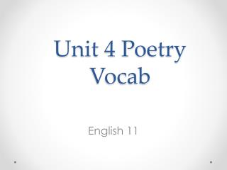 Unit 4 Poetry Vocab